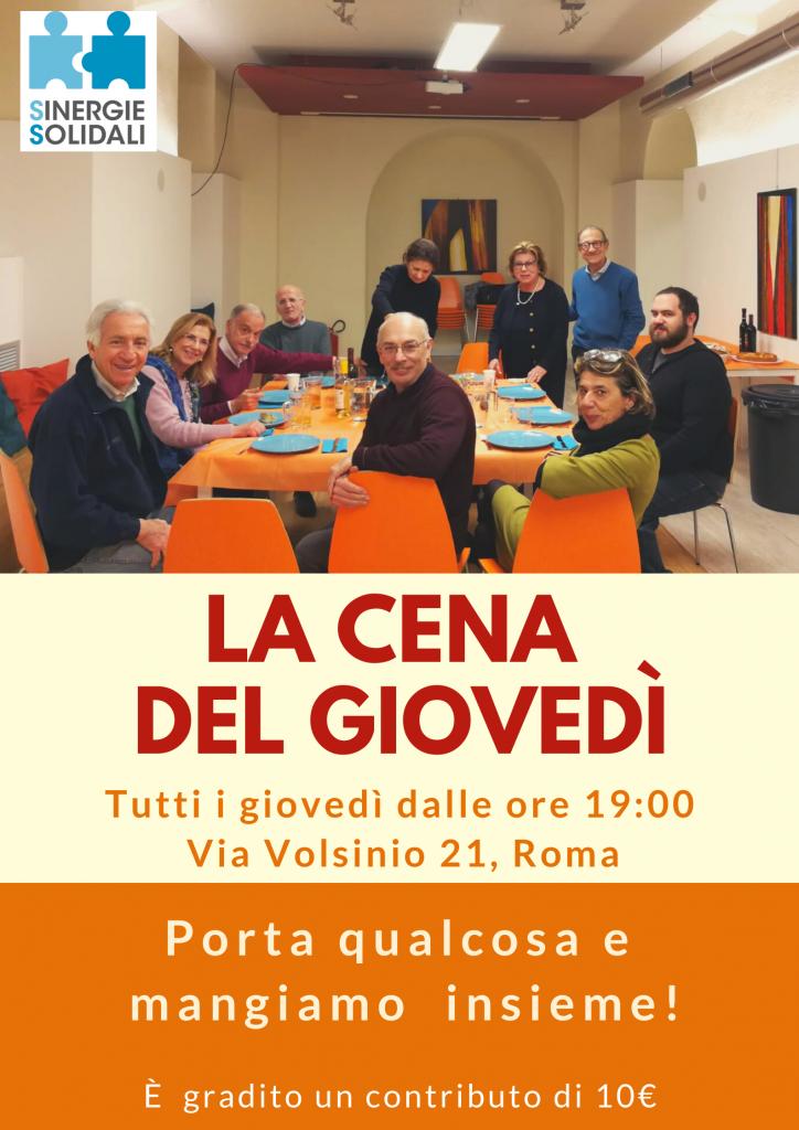 Locandina della cena del giovedì a SinergieSolidali nel II municipio di Roma